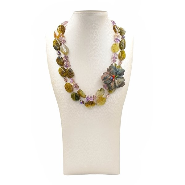 LiiJi Unique Natural Ametrines Agates Jaspers Flower 2 Rows Necklace with Jades Toggle Clasp 50cm