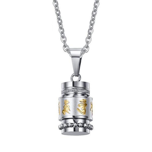 Mens Womens Stainless Steel Gold Silver Buddhist 6 Words Prayer Spining Wheel Rotatable Pendant Calm Down Necklace