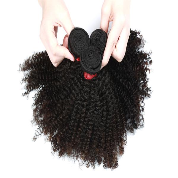 9a afro kinky curly hair exten ion 3 bundle or 4 bundle brazilian indian malay ian 100 virgin human hair natural color 8 28inch, Black