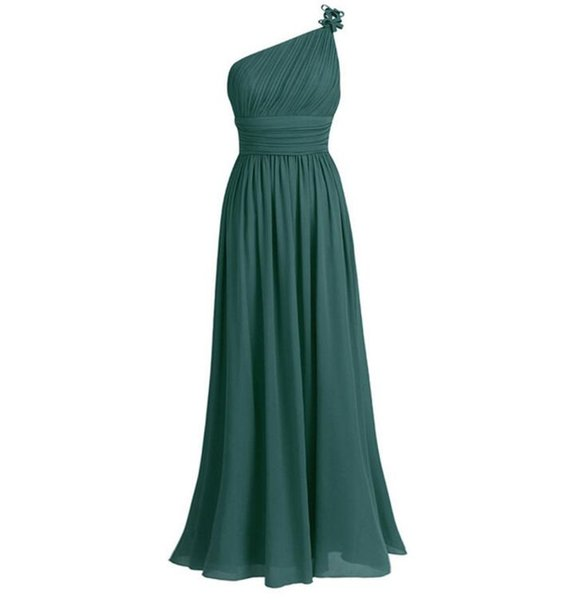 One Shoulder Bridesmaid Dress Summer Chiffon Beach Wedding Party Gowns Prom Long Bridesmaid Maxi Tulle Lace Dresses