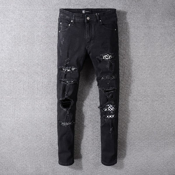 Diseños GRATUITOS Marca AMI Jeans Ropa Pantalones de diseñador Off Road Panther Black Soldier Hombres Slim Denim Straight Biker Hole Hip Hop Jeans Hombres