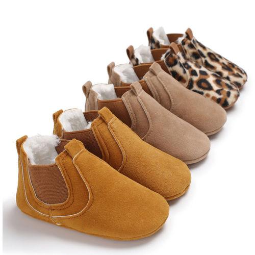 US STOCK Infant Baby Boy Girl Cute Boots Anti-slip Sneakers Soft Sole Crib Shoes