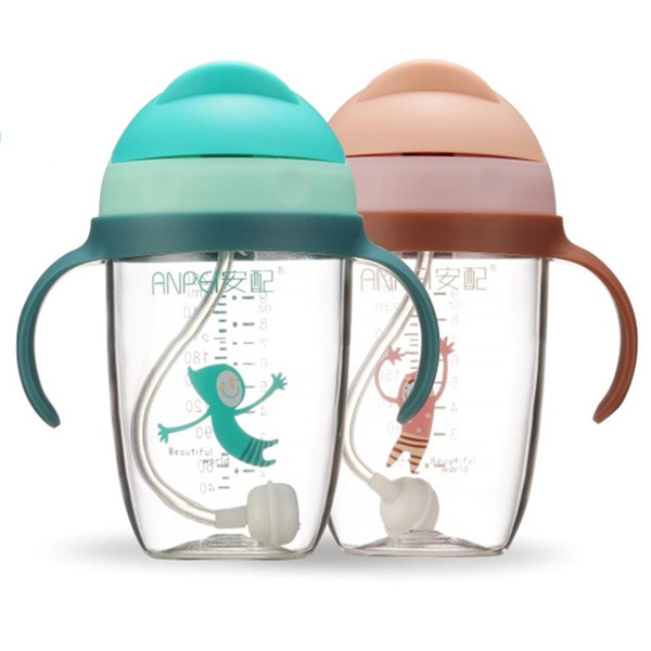 Durable 280 ml Taza Sippy para bebés con empuñaduras Aprendizaje infantil Botella de bebida Tapa de la tapa Tazas anti-estrangulador de alimentación