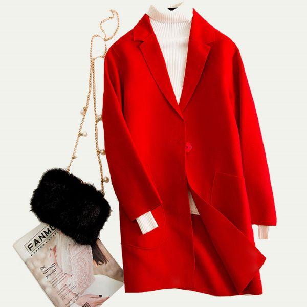Abrigo de lana mujer Rojo Casual Chaqueta de lana larga Abrigo coreano Mujeres Elegante Abrigo de cachemir de doble cara de alta calidad Abrigos de mujer