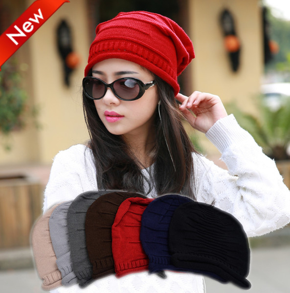 Designer Ladies Plain Knitted Slouchy Beanies Mens Womens Fancy Winter Head Warmer Hats Adults Woman Chemo Cap Red Black Beige 7 Solid Color