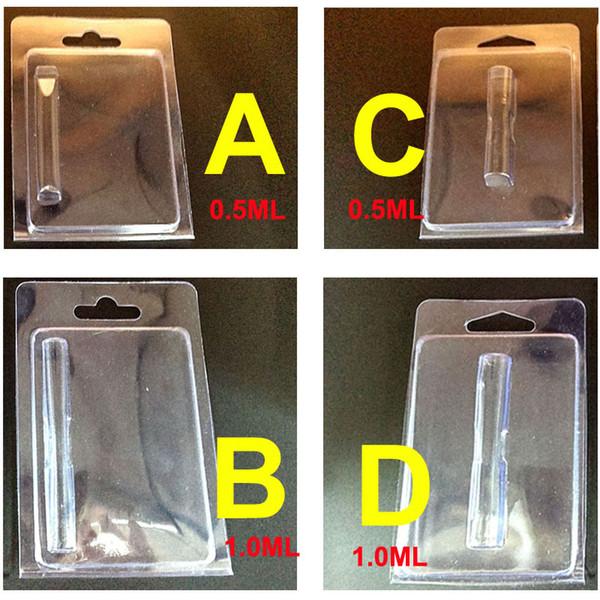 Plastic Clam Shell Clear Blister Embalaje Caja de PVC apta para 0.5 ml 1.0 ml Cartuchos de vaporizador Vaporizador Carros del tanque Atomizador PVC Contenedor