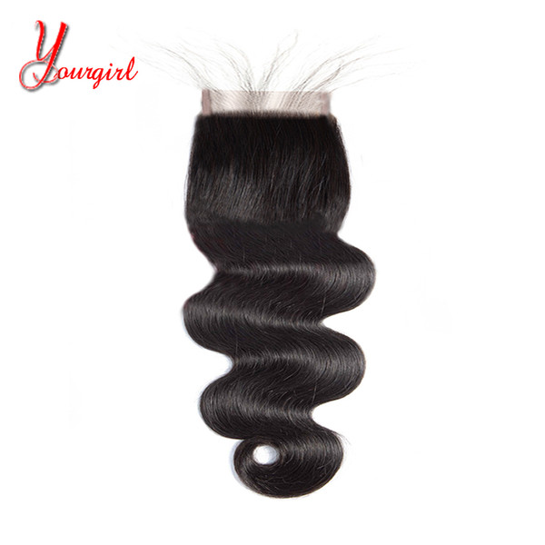 Brazilian Human Body Wave 4X4 Swiss Lace Closure 8-24Inches Free/Midlle/Three/Side Part With Baby Hair Malaysian Peruvian Indian Virgin Hai