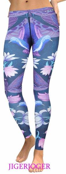 Pantalones de yoga para mujer JIGERJOGER Pájaros de libélula púrpura impresos LEGGINGS Ropa deportiva para mujeres trajes de verano de cintura alta fitness