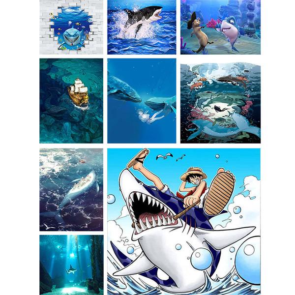 5d Diy Yuvarlak Elmas Boyama Köpekbalığı Çapraz Dikiş Okyanus Hayvan Elmas Nakış Mozaik Duvar Sticker Craft Kiti Ev Dekorları Hediyeler