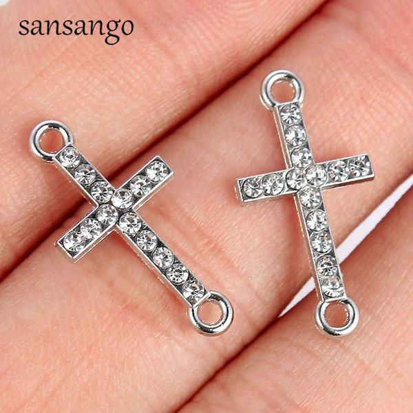 10pcs 5 Style Gold Silver Crystal Alloy Cross Connector DIY Necklace Charms Bracelet For Women Men Jewelry Making Accessories