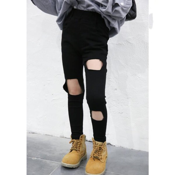 2019 Spring Autumn New Fashion Hole Denim Solid Pants For Children Girls Baby Tight-fitting Pencil Pants Trousers 3-14y Ws319