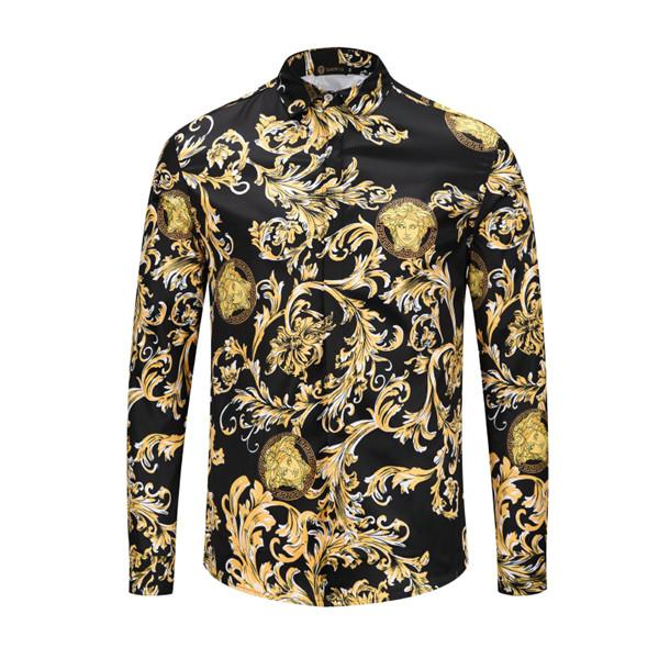 2019 Fashion Designer Men 3G Floral tiger Print Colour Mixture Luxury Casual Harajuku Shirts Long sleeves Men's Medusa Shirts