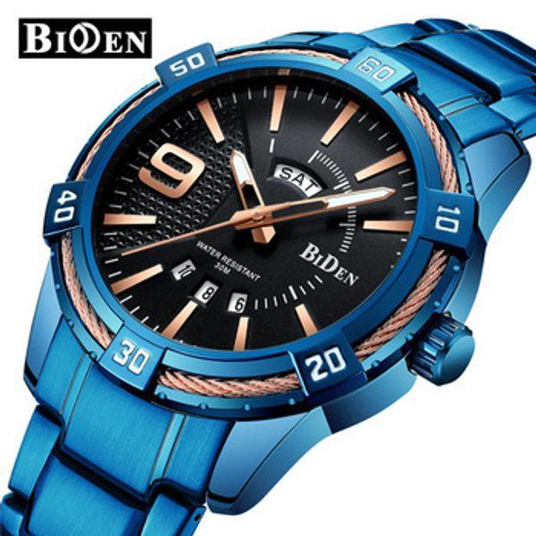 Biden 0137 1 Cool Blue Series Fashion Sport Quartz Clock Mens Watches Top Waterproof Watch