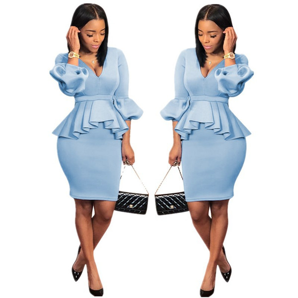 2019 Designer Women Clothes Work Dress 2019 New Women S Clothing Plus Size  Dresses Fashion Ruffled Lantern Sleeve Slim Bodycon Dresses Above Knee From  ...