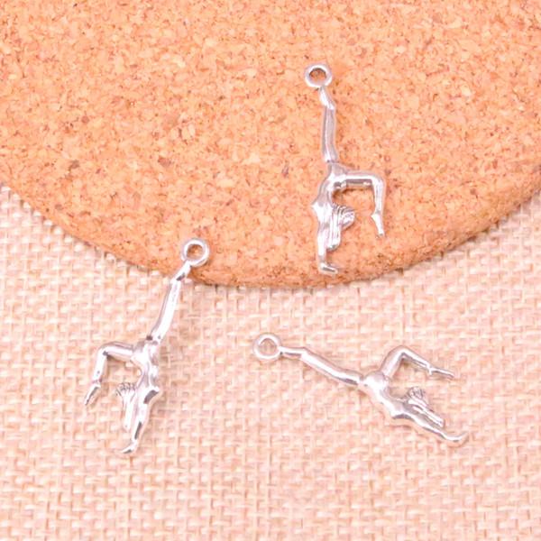 139 unids encantos gimnasia gimnasta sporter plata antigua colgantes plateados joyería apta que hace los hallazgos accesorios 30 * 11 mm