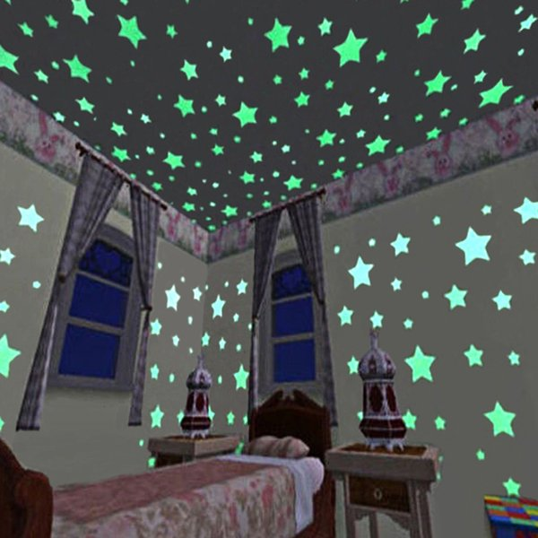 100pcs 3D Star Glow In The Dark muro Adesivi luminoso fluorescente Sticker fosforescente per il soffitto parete per bambini Room Decor