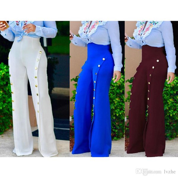 Summer New Sexy Women Ladies Wide Leg High Waist Palazzo Trousers Button Flares Pants 4 Colors 5 Size