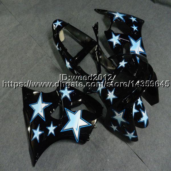 Capucha de motocicleta Screws + Gifts star black para Kawasaki 98-99 ZX-6R 1998 1999 paneles de motor Plástico ABS