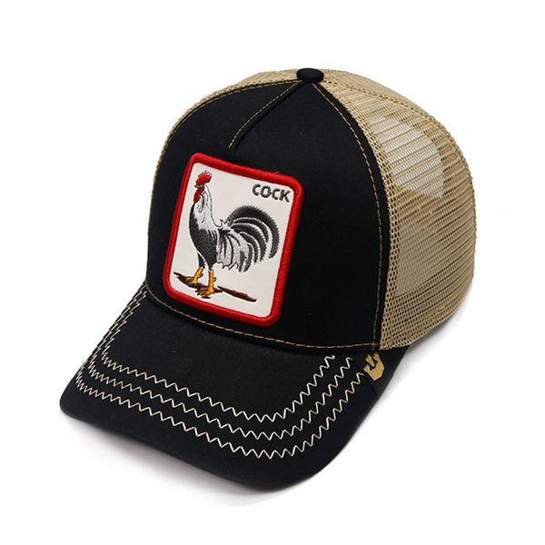 Alta calidad de verano de lujo sombreros de malla bordado gallo gorras de béisbol al aire libre Sun Snapback sombrero para hombre pelota de golf Cap mujeres moda visera