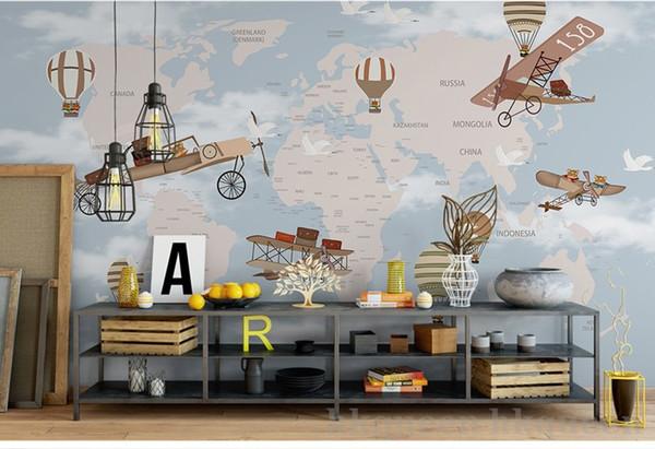 Bacaz World Map Airplane Fire Balloon 3d Cartoon Wallpaper Mural for Baby Child Room 3d Wall Mural Wall Deco 3D Cartoon Sticker