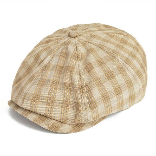 fb6f8526d6f86 wholesale Spring Summer Newsboy Cap Men Women Flat Cap Plaid Check Window  Gatsby Cabbie Driver Hat