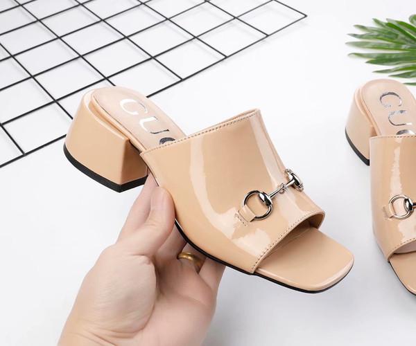Beige Black Horsebit Slippers peep toe Patent Leather Low heel Womens Sandals New 2019 Hot Selling