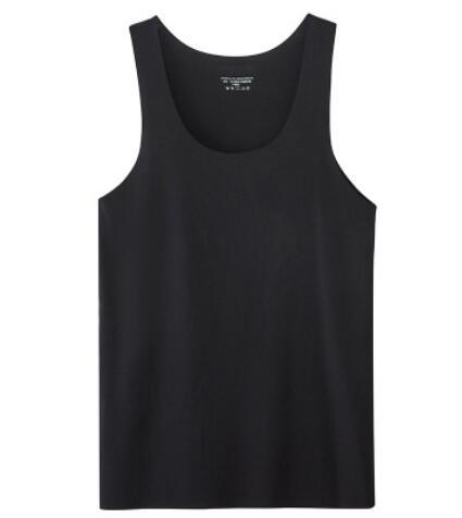 Summer vest new men's traceless ice silk seamless cotton tight sports fast-drying V-neck wide shoulder Black