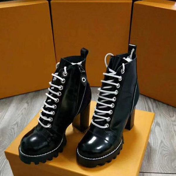 2019 Zapatos de cuero para mujer con cordones Cinturón con hebilla Cinturón botines directos de fábrica mujer tacón grueso cabeza redonda otoño invierno Martin Botas