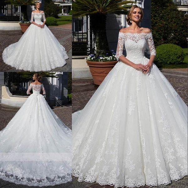 Vestido De Noiva Elegant Boat Neck Ball Gown Wedding Dress 2020 Sexy Lace Applique Sequin Off Shoulder Half Sleeve Vintage Wedding Gown