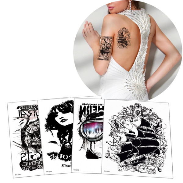 Fake Black Cool Temporary Tattoo Sticker Body Boys Sexy Female for Arms Leg Back Art Transfer Tattoo Waterproof Decorations Decal Paper Gift