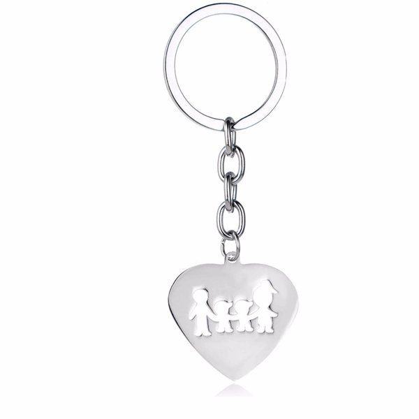 12PC/Lot Hot Mothers Fathers Son Keychain Mom Dad Family Boys Children Key Chain Gift Stainless Steel Love Heart Pendant Keyring