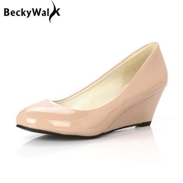 Designer Kleid Schuhe HEIßE Frauen Pumpt PU Leder Candy Farbe Plattform Keile Frau Spitz High Heels Frauen Sommer WSH2103