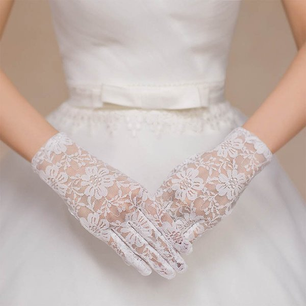 Hot lace faux women gloves sexy bride fishnet crochet floral summer Sun protection mittens elegant lady gloves