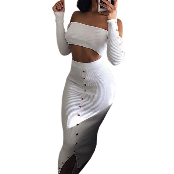 Kırpma Üst ve Kalem Etek Kıyafetler Kız Kapalı Omuz Düğmeleri Sıska Bölünmüş Örme kadın Setleri Kış Seksi Bodycon Iki Parçalı Set