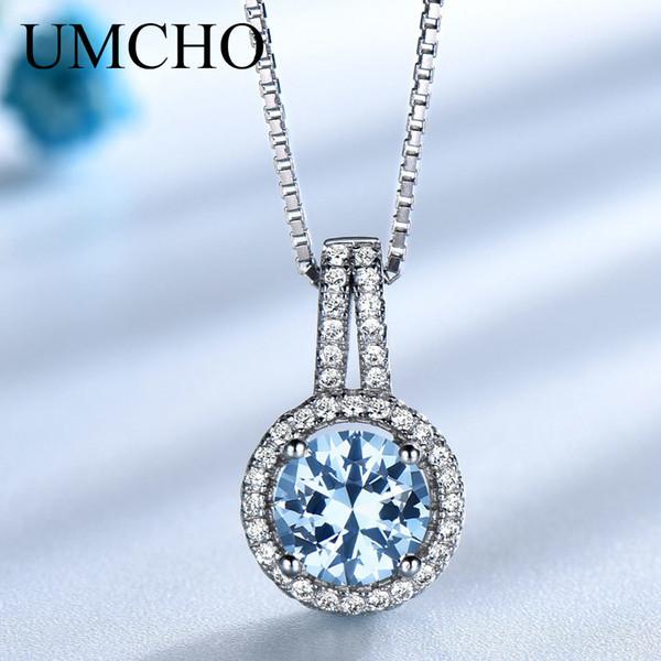 UMCHO Topaz blu della pietra preziosa collane dei pendenti per le donne solido dell'argento sterlina 925 di marca Fine Jewelry nozze regalo per lei