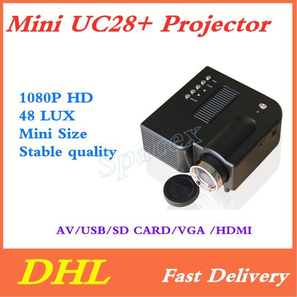 Mini UC28+ Portable 1080P HD Projector Home Cinema Theater Multi-media Player 1080P Home Theater Game Supports VGA HDMI USB TF Free DHL