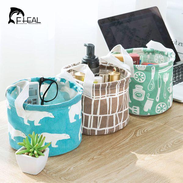 FHEAL Cotton Linen Desktop Storage Box Stationery Toy Cosmetic Jewelry Sundries Storage Basket Underwear Sock Organize Holder