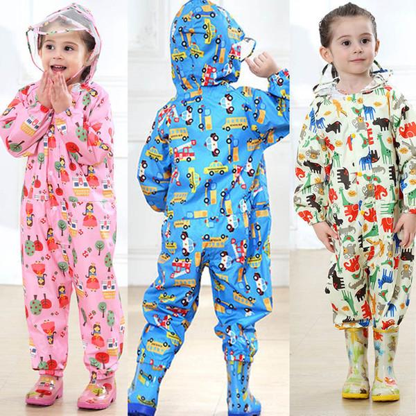 어린이 만화 비옷 아이 죄수 복 비옷 레인 커버 아이 아기 소년 소녀 방수 판쵸 비옷