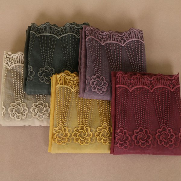 Laven women floral lace scarves plain bandhnu cotton muslim hijab wraps headband scarves/scarf 11 color 200*85cm 10pcs/lot