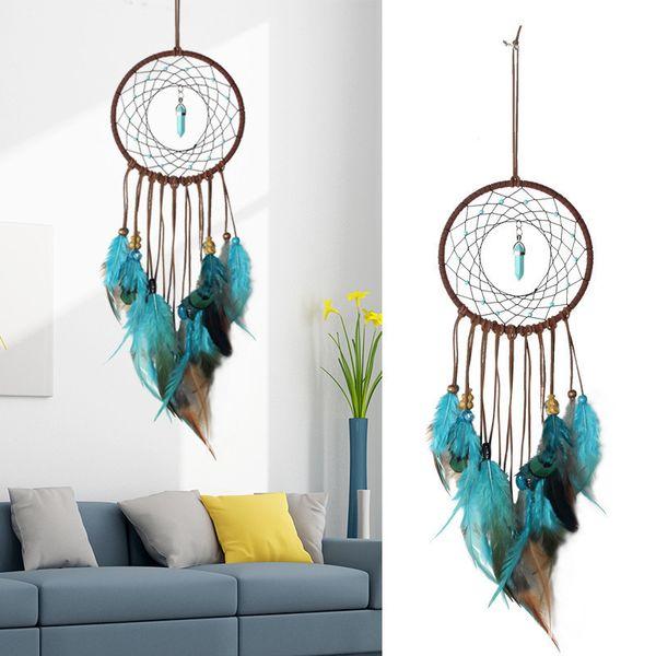 Blue Dream Catcher Love Pendant Home Ornaments Regali di San Valentino Wind Chimes Dreamcatcher Natural Feathers Wall Hangings