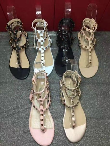 Zapatos Mujer Color Rivets Spiked Gladiator Flat Women Sandals Stones Studded Flip Sandal Big Size Designer Women's Cheap Shoes Summer
