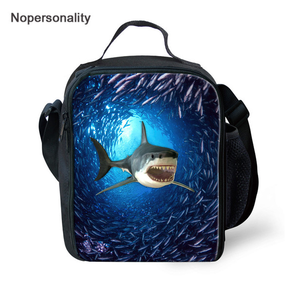 Nopersonality Shark Printing Lunch Bags For Boys Girls Thermal Insulated Lunchbox Picnic Meal Bag Children Custom Tote Bag