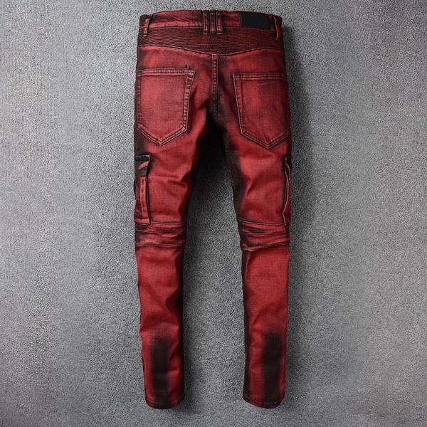 2020 New Mens Punk Retro Red Jeans Furo rasgado Denim Carga calças Plus Size Slim Fit Motorcycle Jeans bolso longa Calças Lápis