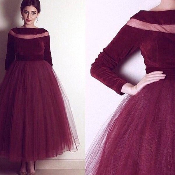 Burgundy Velvet Evening Gown 2019 A-Line Prom evening Dresses Long Sleeve Ankle Length Formal Pageant Gowns vestidos de noiva