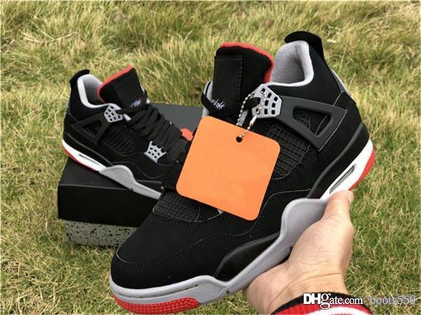 2019 Nuevo Auténtico 4 Criado Negro Cemento Fuego Rojo Blanco Gris Cumbre 4S IV Hombres Mujeres Zapatos de baloncesto Zapatillas deportivas con caja 308497-060