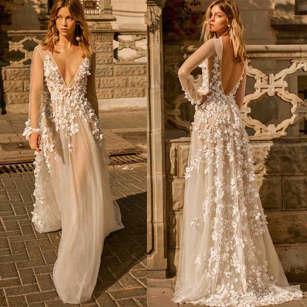 Fall Dresses 2020.Discount 2020 Fall Berta Wedding Dress Sheer Long Sleeve Plunging V Neck Bridal Gowns Sexy Illusion 3d Applique Backless Boho Wedding Dress Photos Of