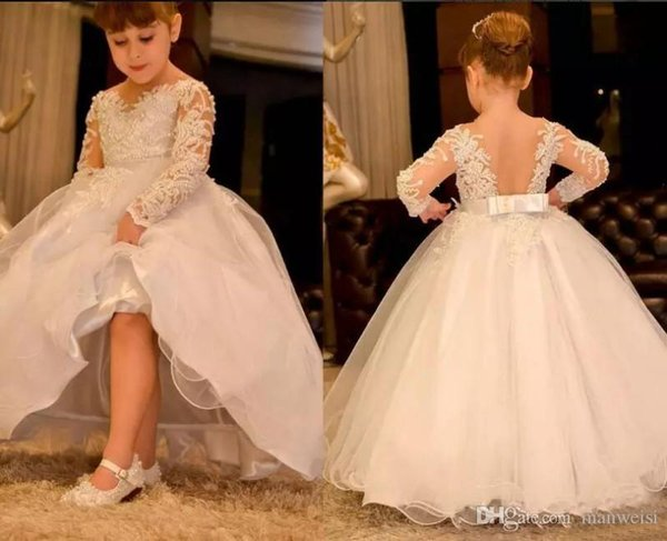 Pretty Long Sleeve Flower Girl Dresses For Weddings Lace Appliqued Little Baby Ball Gowns Cheap 2020 New Communion Dress Flower Girl Dresses With