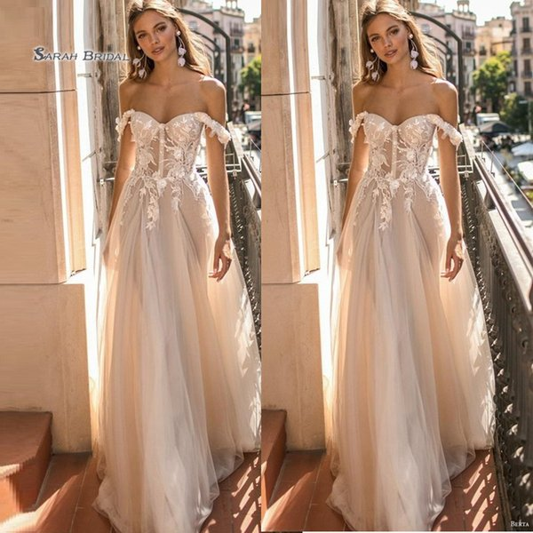 best selling 2020 Off Shoulder Floor Length Tulle Bride Dress Appliques Sleeveless A Line Wedding Dresses Bridal Gown robes de mariée