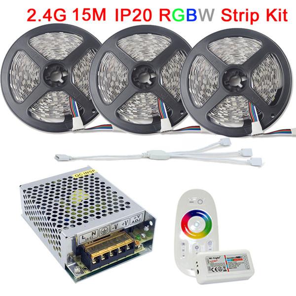 Luz de tira llevada DC12V RGBW Fita De LED de cinta RGB blanco caliente blanco no 15M impermeable 10M Controller RGBW Kit completo 2.4G RF remoto AC Powe