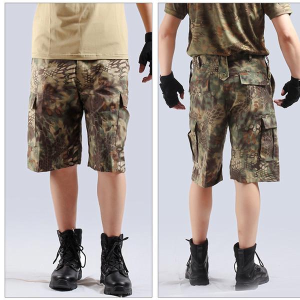 Летний мужской камуфляж свободные грузовые тактические шорты Спорт на открытом воздухе охота кемпинг альпинизм обучение длина до колен короткие брюки